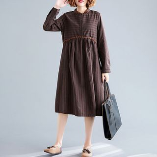 RAIN DEER - Striped Embroidered Stand-Collar Long-Sleeve Dress