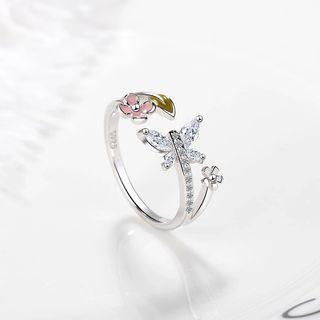 Knick Knack - Rhinestone Butterfly Flower Open Ring