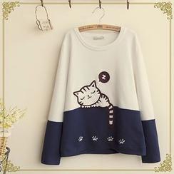 布衣天使 - 猫猫图案插色T恤