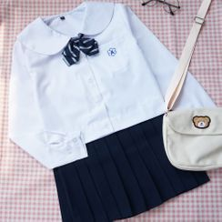 Candy House - Pocketed Shirt / Pleated Mini Skirt
