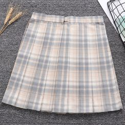 Candy House - Plaid A-line Skirt / Bow Tie