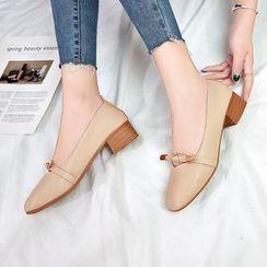 Simply Walk - Faux Leather Block Heel Slip-ons