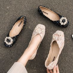 Red Wolf - Faux Pearl Tweed Flats