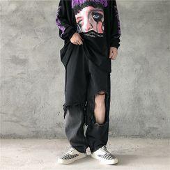 LINSI - Distressed Straight-Cut Jeans