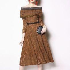 Seire - Off-Shoulder Long-Sleeve Midi A-Line Lace Dress