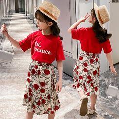 Qin Qin - Kids Set: Short-Sleeve Lettering T-Shirt + Floral Print Midi A-Line Skirt