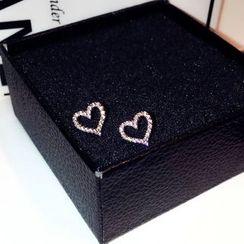 Infini - Rhinestone Heart Stud Earring
