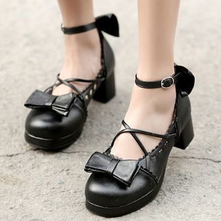 Udin(ウディン) - Block Heel Ankle Strap Pumps