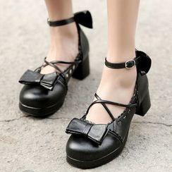 Udin - Block Heel Ankle Strap Pumps