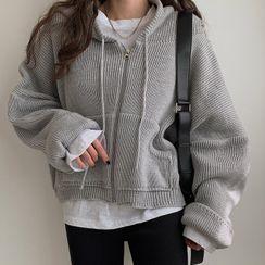 MERONGSHOP(メロンショップ) - Rib-Knit Oversized Zip-Up Hoodie