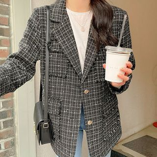 Seoul Fashion(ソウルファッション) - Pocket-Detail Fray-Edge Tweed Jacket