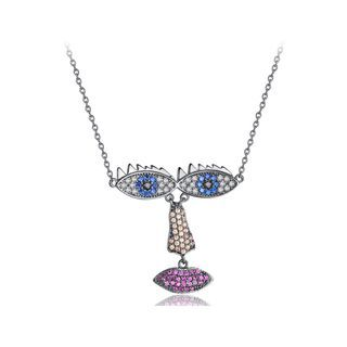 BELEC - Fashion Creative Plated Black Eyed Girl Necklace with Cubic Zirconia