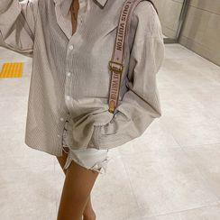 LIPHOP - Boxy-Fit Cotton Stripe Shirt