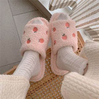 ZORI - Embroidered Fleece Home Slippers