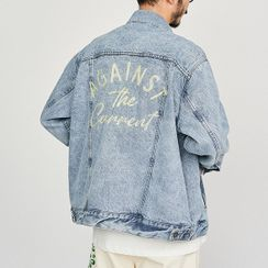 ekosaurus - Letter Embroidered Denim Jacket