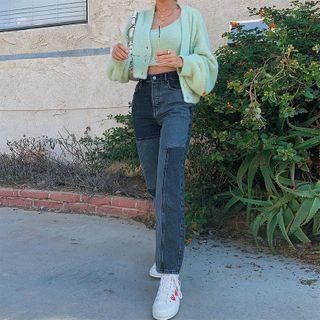 Sosana - 插色直筒牛仔裤