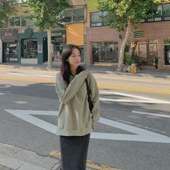 CHERRYKOKO - Fleece-Lined Plain Sweatshirt
