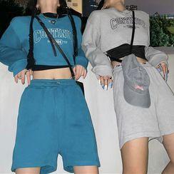 UNISTU - Long-Sleeve Embroidered T-Shirt / Plain High-Waist Shorts
