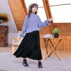 Cuckoo - Kids Midi A-Line Velvet Skirt