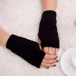 Damasco - Plain Knit Fingerless Gloves