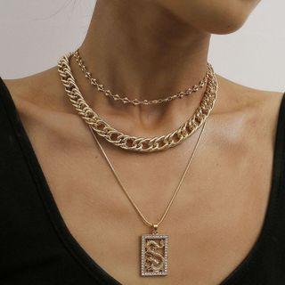 Seirios - Set of 3: Chain Necklace + Rhinestone Dragon Necklace