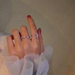 INKGLOW - Rhinestone Faux Pearl Moon & Star Ring