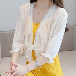Nashe - Elbow-Sleeve Lace Trim Cover-Up