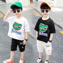 PAM - Set: Kids Dinosaur Print Short-Sleeve T-Shirt + Cargo Shorts
