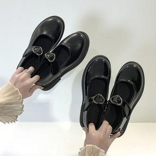 Youaisha - 心型瑪莉珍仿皮平跟鞋