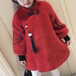 Frillie - 童裝刺繡盤扣大衣