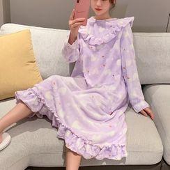Endormi - Long-Sleeve Heart Print Pajama Dress