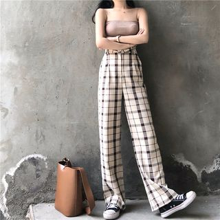 Concerindo - Plaid Wide-Leg Pants