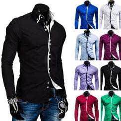 Hansel - Contrast Trim Long Sleeve Shirt