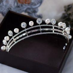 Ashmi - 多层仿珍珠水钻婚礼皇冠 / 耳坠 / 项链 / 套装