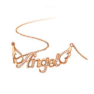 BELEC - 925 Sterling Silver Plated Rose Gold Angel Necklace with White Austrian Element Crystal