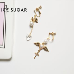 ICE SUGAR - Non-Matching Faux-Pearl Drop Earrings