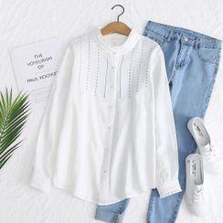 Aigan - Stand Collar Striped Shirt