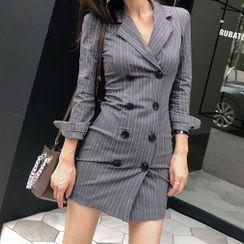 ISMY - 条纹双排扣迷你塑身西装外套连衣裙