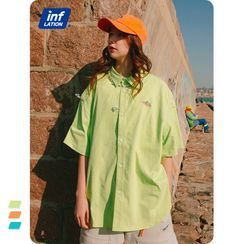 Newin - Unisex Short-Sleeve Printed Loose Shirt