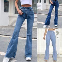 blossomgal - High-Waist Wide-Leg Boot-Cut Jeans