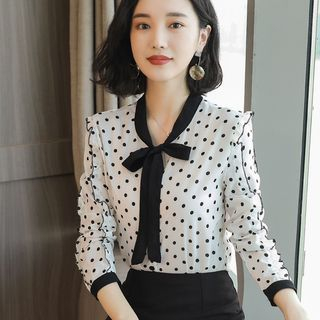 Sienne - Tie-Neck Polka Dot Shirt