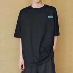 Mr. Wordy(ミスターワーディ) - Elbow-Sleeve Print T-Shirt