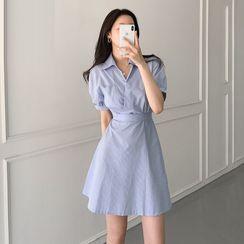 Tangihouse - 条纹短袖迷你A字衬衫连衣裙