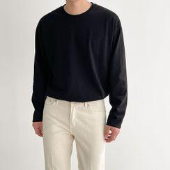 Seoul Homme - Round-Neck Plain T-Shirt