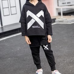 Island Puppies - Kids Set: Cross Print Hooded Long-Sleeve T-Shirt + Sweatpants
