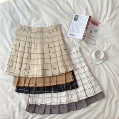 Bodacious! - High-Waist Plaid Pleated Mini Skirt