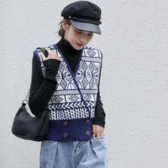 Lady Jean - 仿高领针织上衣 / 图案马甲
