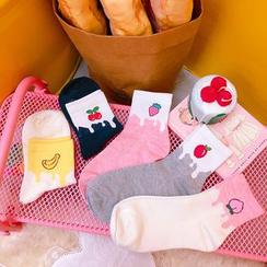 Yunikon - 水果刺绣袜子