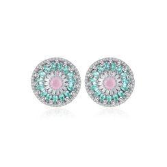 BELEC - 时尚优雅几何圆形耳钉配彩色锆石