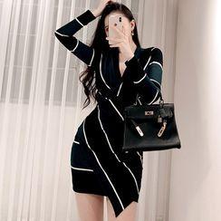 Dimanche - 长袖条纹迷你塑身连衣裙